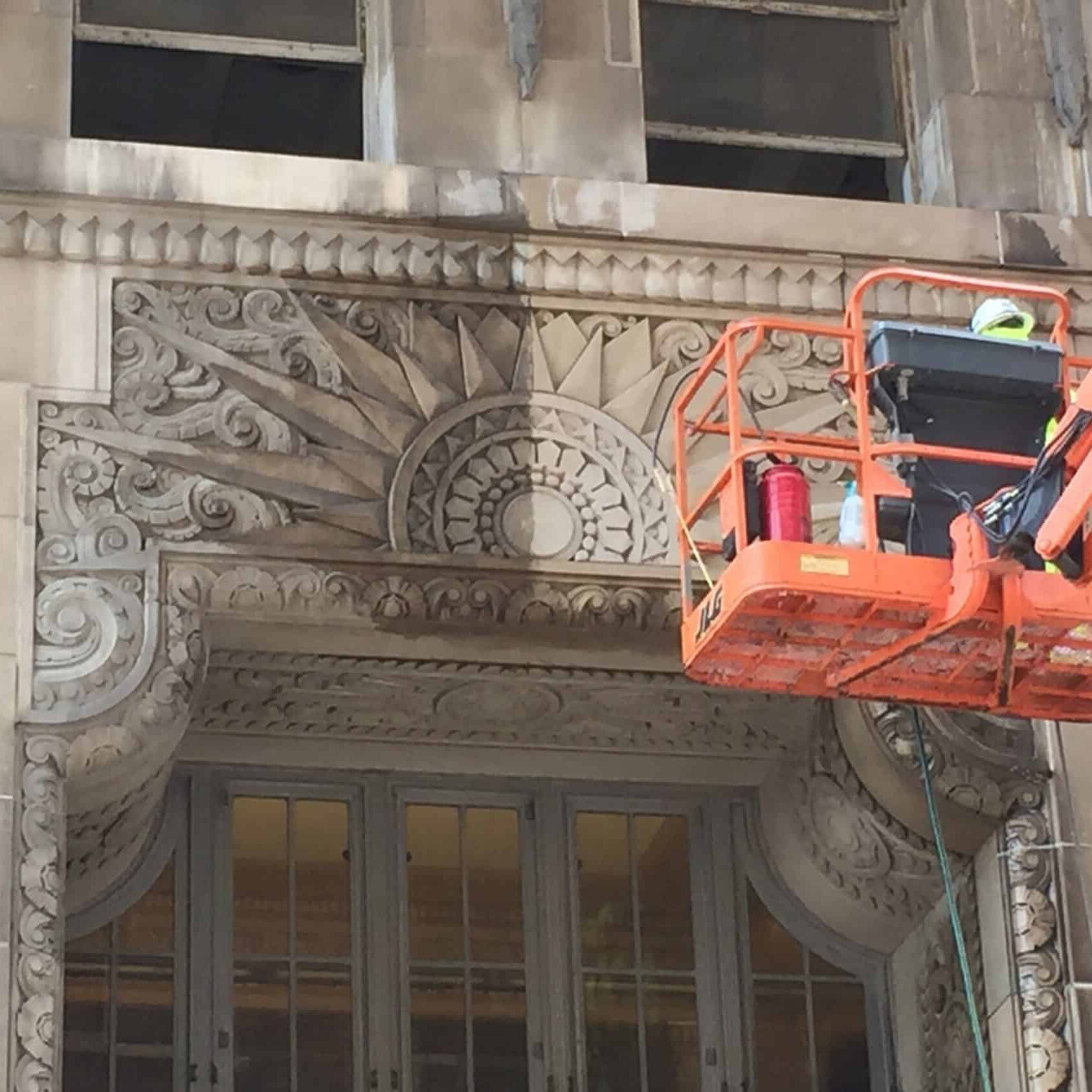 Crews used ReVive to remove biological staining from Kansas City Power & Light building.