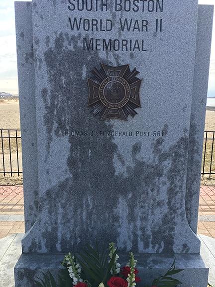 Defaced World War II memorial in South Boston