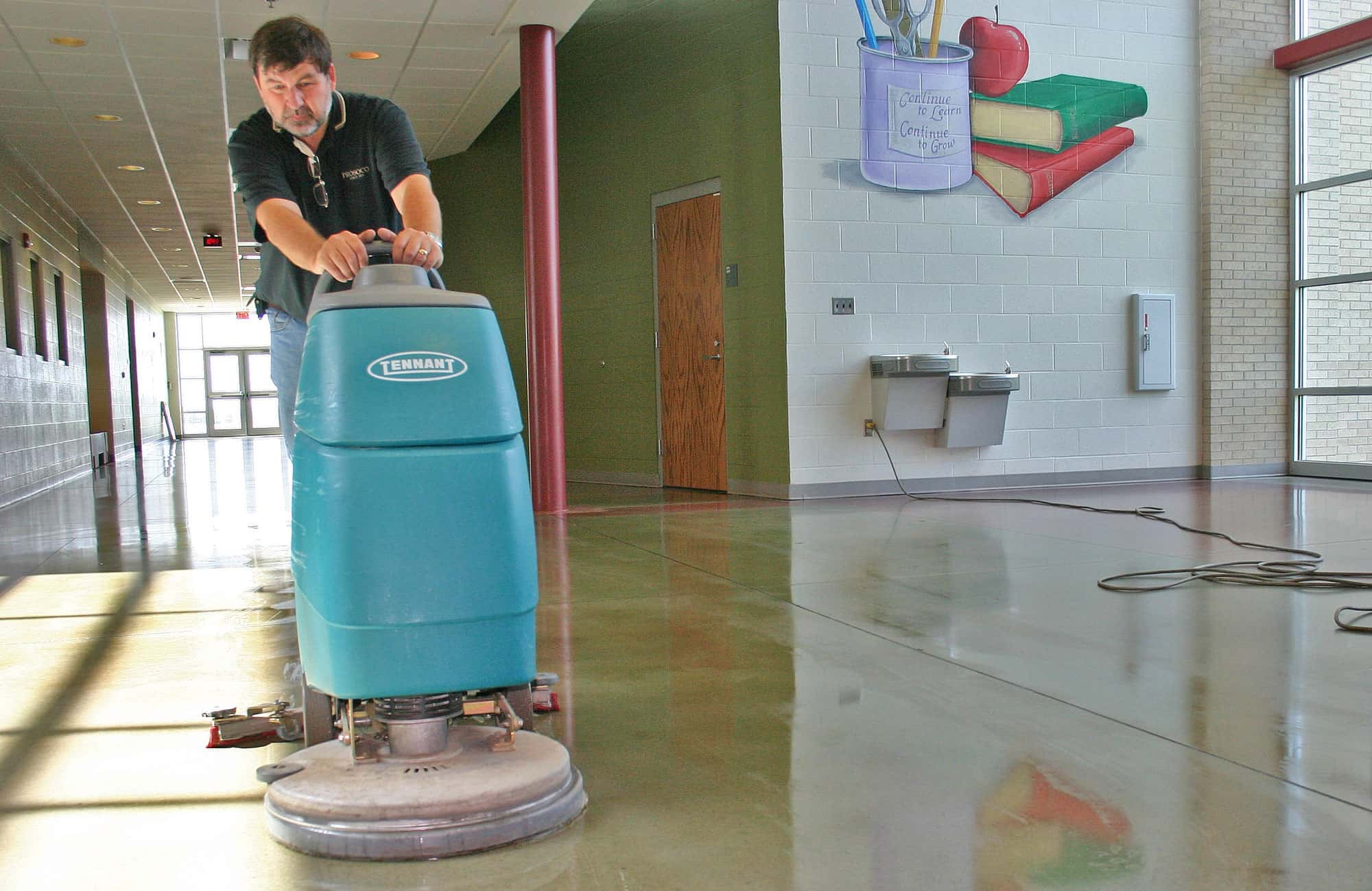 Autoscrubber on a concrete floor