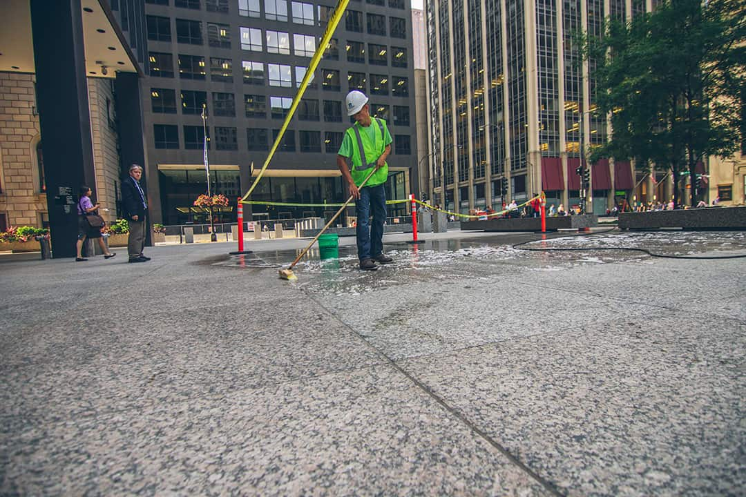 Klean 'N Release Cleaner cleans a granite plaza in downtown Chicago