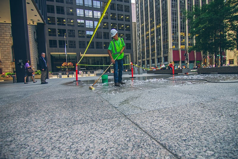 Dirksen Federal Building plaza cleaned with Klean 'N Release Cleaner