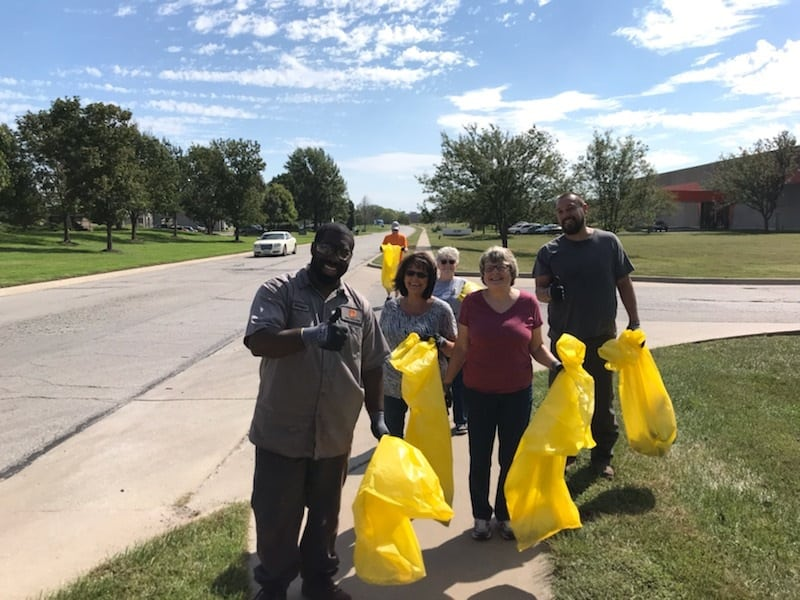 "PROSOCO employees volunteer to pick up trash around our business park in an annual ""Walk the park"" event. This year, employees cleaned more than 35 pounds of trash from the park."