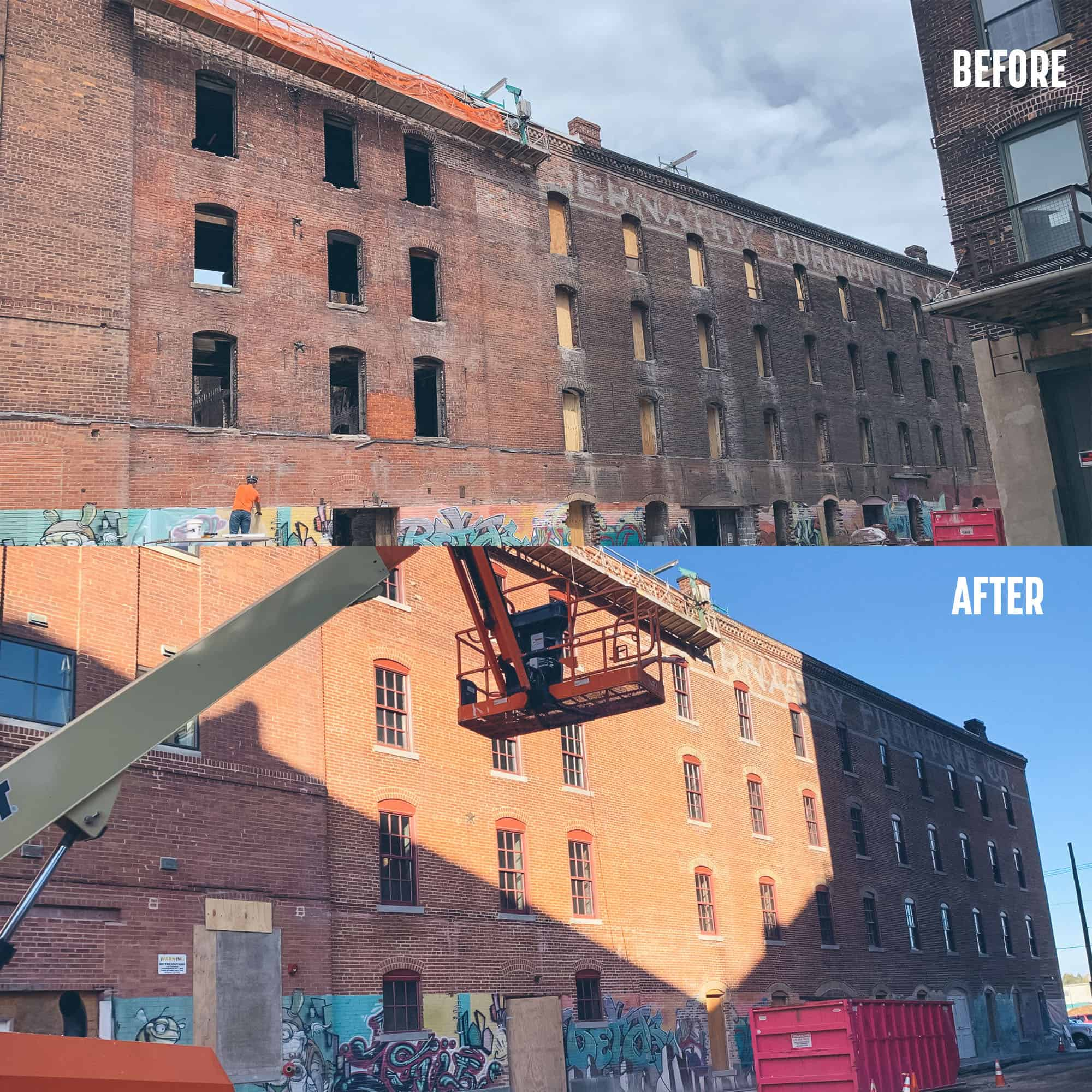 Before and after of Abernathy Building in Kansas City.