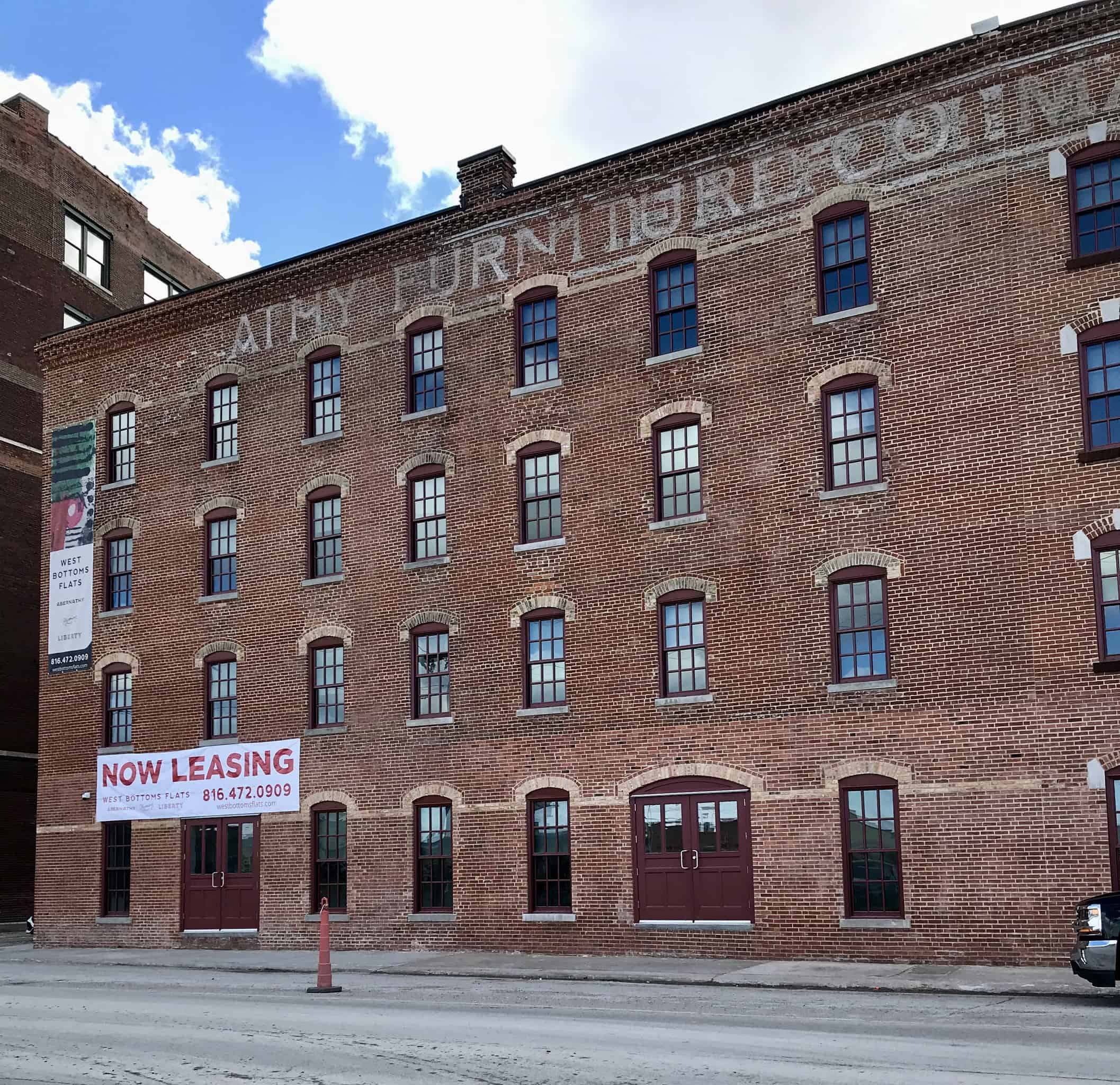 Once a dilapidated warehouse, Kansas City's historic Abernathy Building is now an upscale apartment building in a revived, formerly industrial district called the West Bottoms.