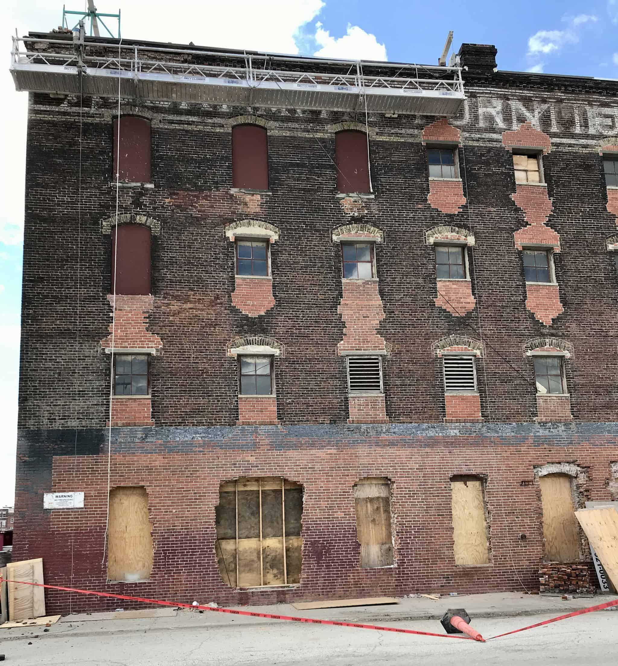 Abernathy Building restoration in Kansas City's West Bottoms industrial district.