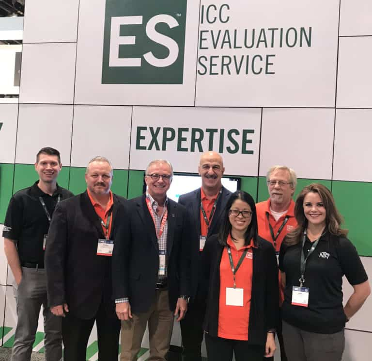 Staff members from ICC-ES are pictured at the IBS show in 2020.