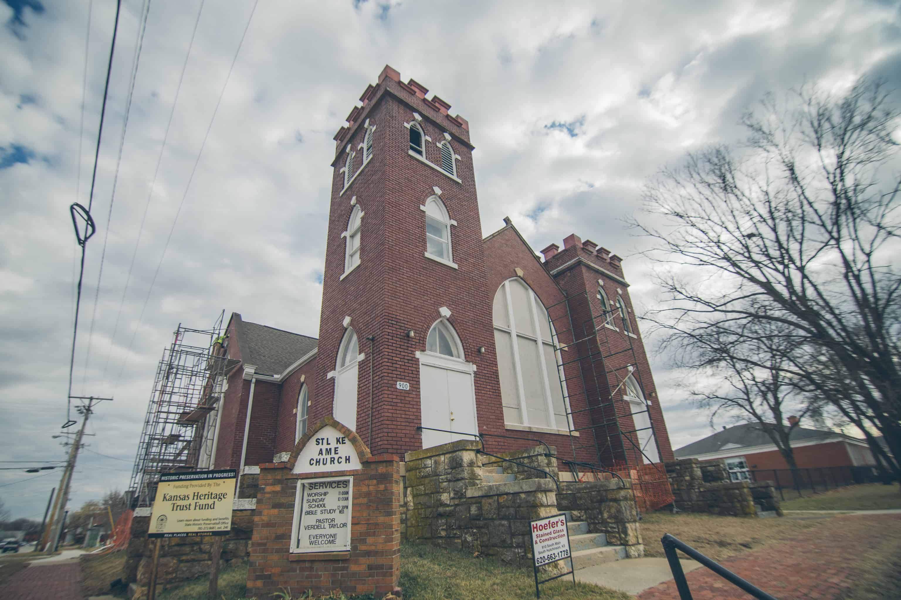 St. Luke AME Church in Lawrence, Kansas, was restored in 2020-2021 with masonry anchors.