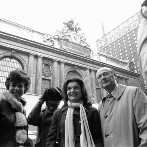 Jackie Onassis in front of Grand Central Station.