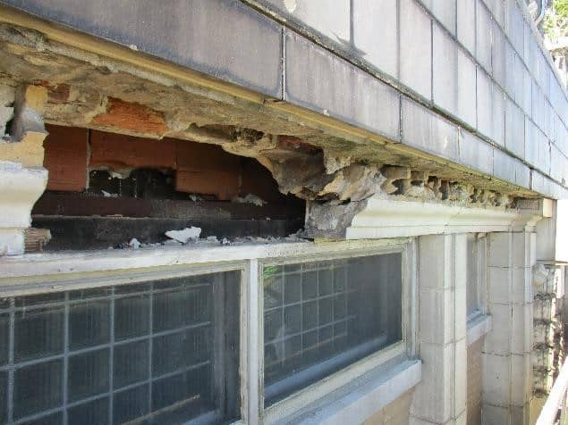 Facade stabilization required a number of methods. Photo courtesy WJE