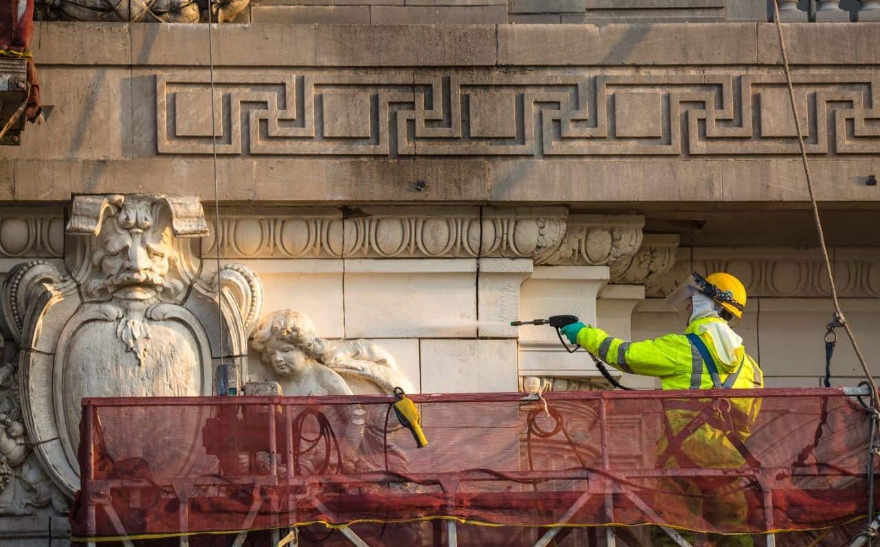 Contractors used 766 Limestone & Masonry Prewash and Light Duty Concrete Cleaner. Photo courtesy WJE